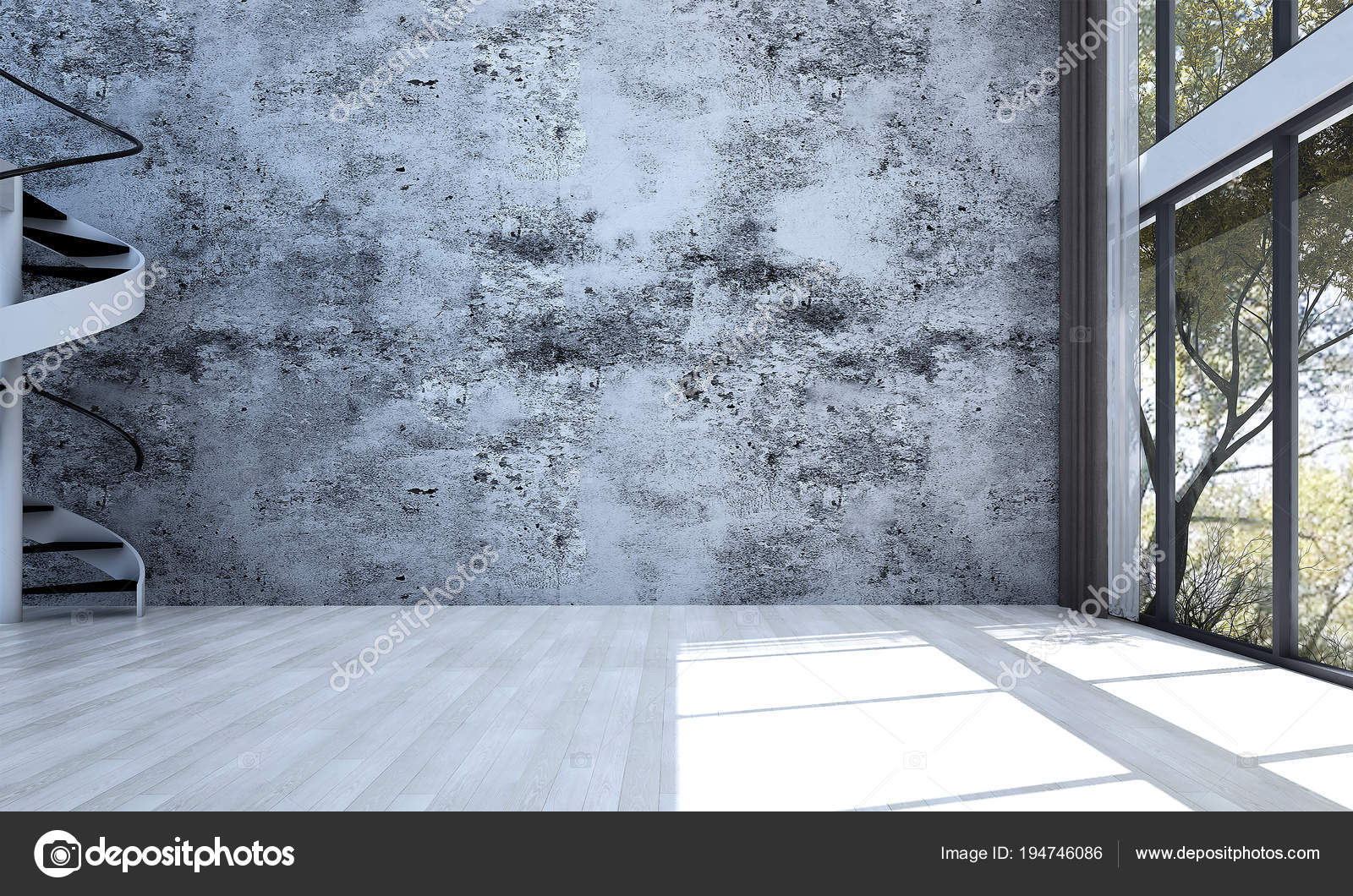 Die leeren modernen loft wohnzimmer interior design und beton wand