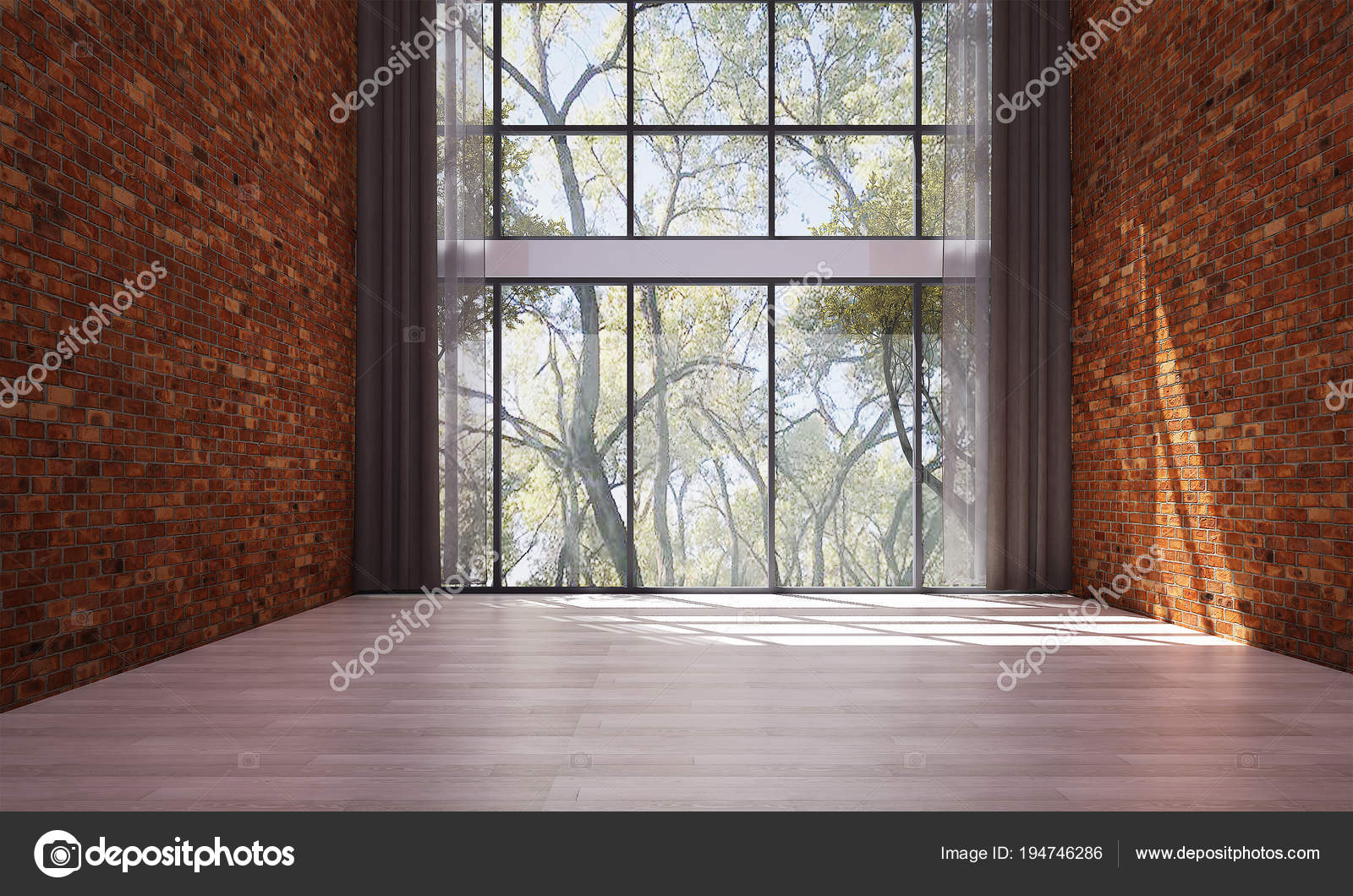 Interior Design Empty Living Room Red Brick Wall Pattern Design