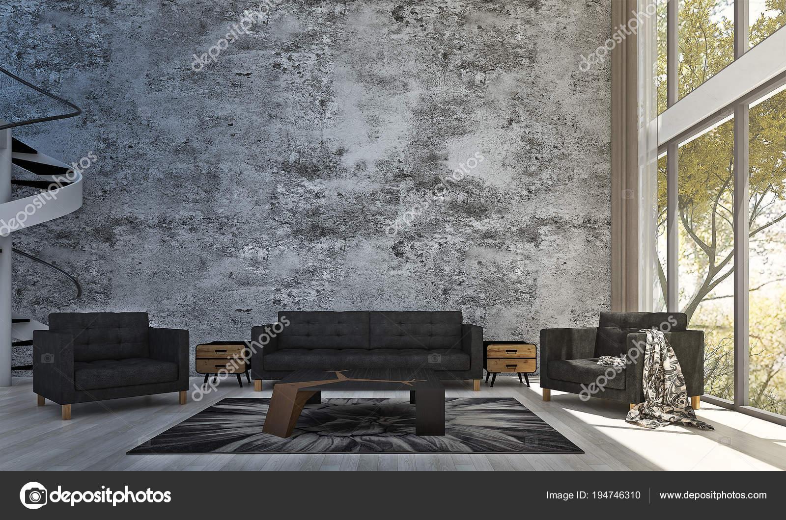 Die Innenausstattung Des Loft Wohnzimmer Und Konkrete Muster