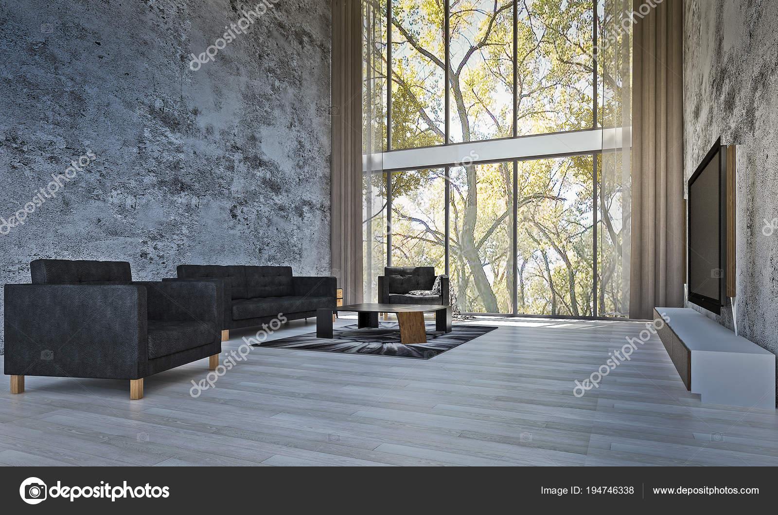 Woonkamer Met Beton : Het interieur van het moderne loft woonkamer beton patroon