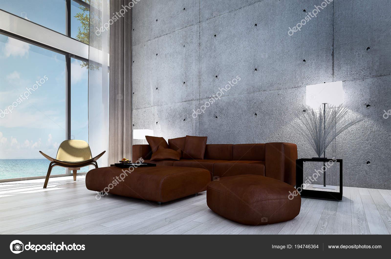 Woonkamer Met Beton : Het interieur van woonkamer beton patroon wanddecoratie zee