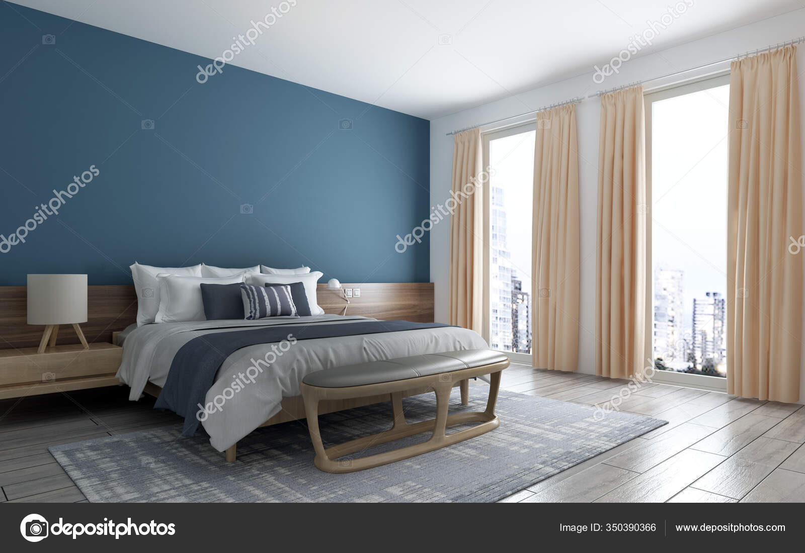 Modern Bedroom Interior Design Blue Wall Texture Background Patternand Cityscape Stock Photo C Teeraphan 350390366