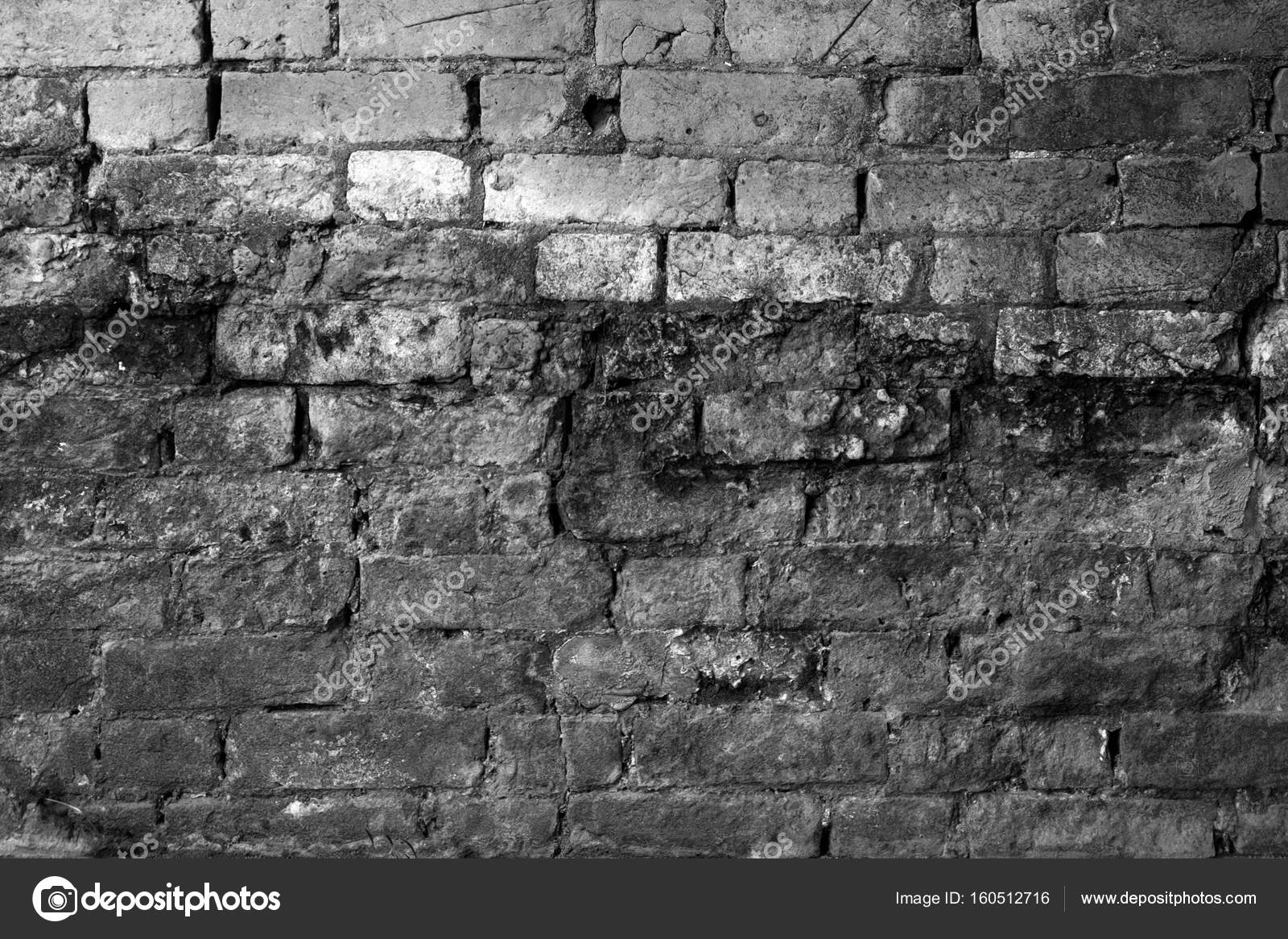 Black and white brick wall with high contrast blue filter stock image