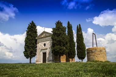 Chapel of the Vitaleta in Val Orcia province of Siena Italy stock vector