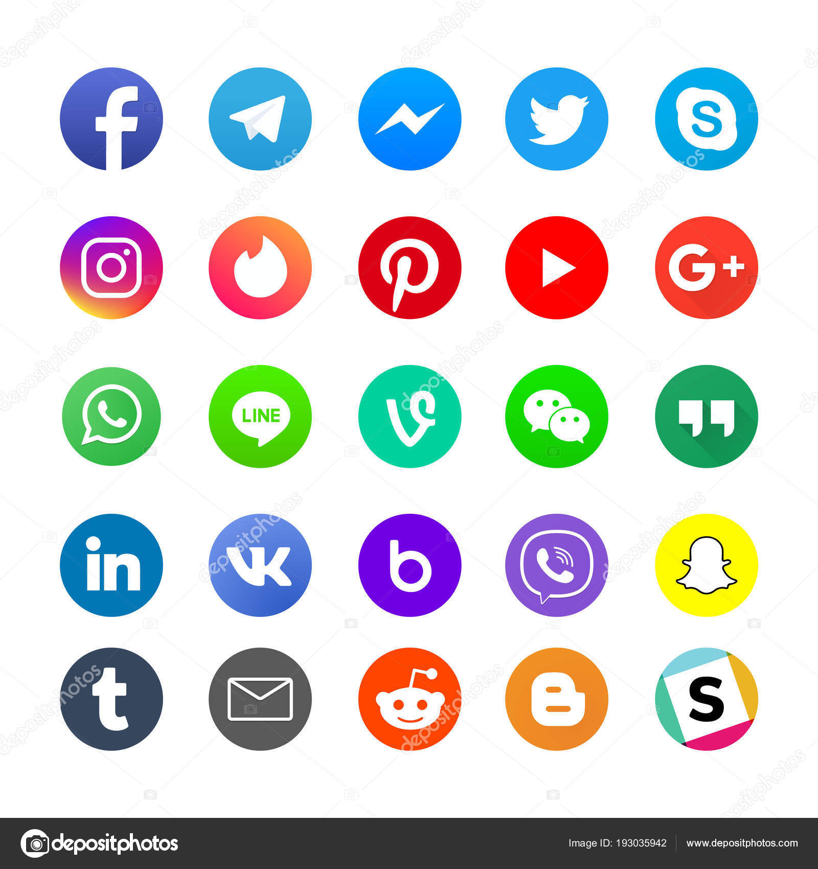 44713ed5615 Δημοφιλή μέσα κοινωνικής δικτύωσης app και messenger εικόνες set ...