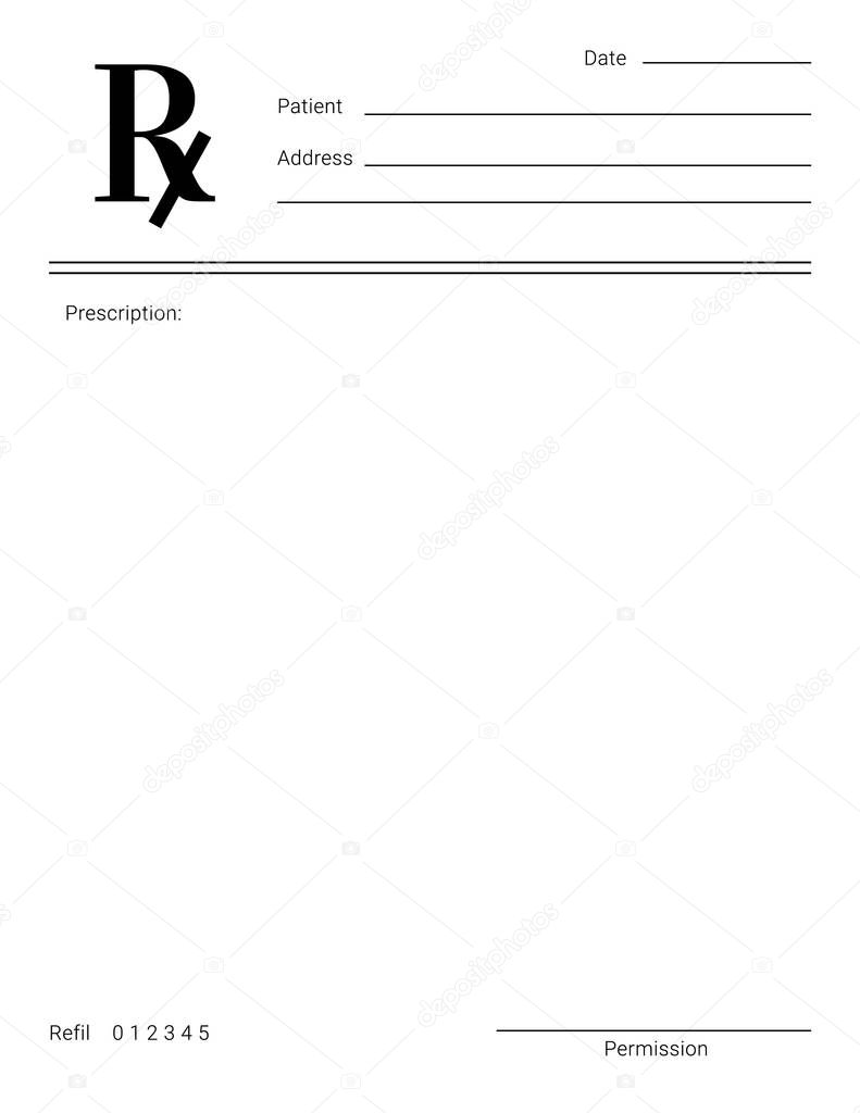 ✓ Blank Rx form for medical treatment prescription and drugs list For Blank Prescription Form Template