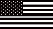 Americká vlajka s tenkou šedou nebo stříbrnou - znamení na počest a respekt amerických nápravných důstojníků, vězeňské stráže a žalářníků.