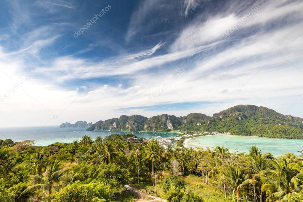 Phi-Phi island View tropical island with resorts - Krabi Provinc