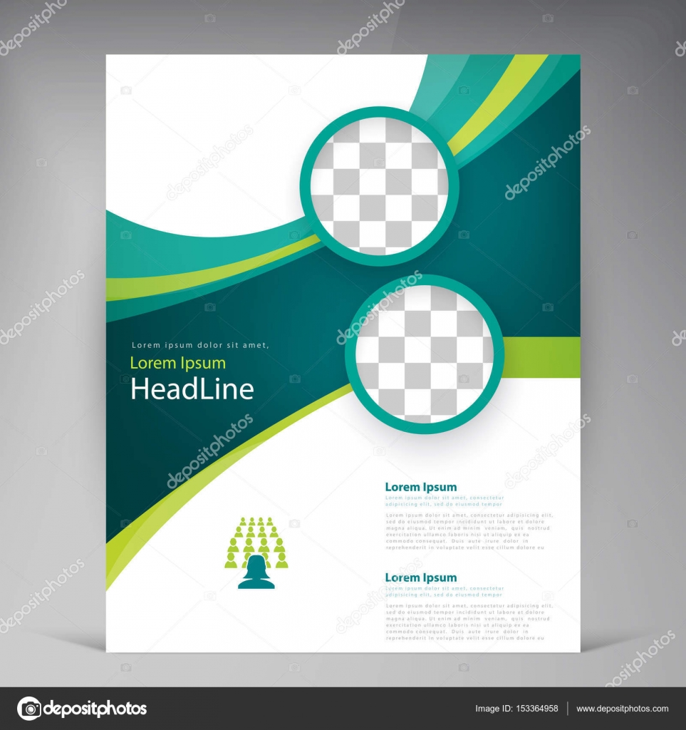 Vector abstract template design flyer, cover with turquoise and ...