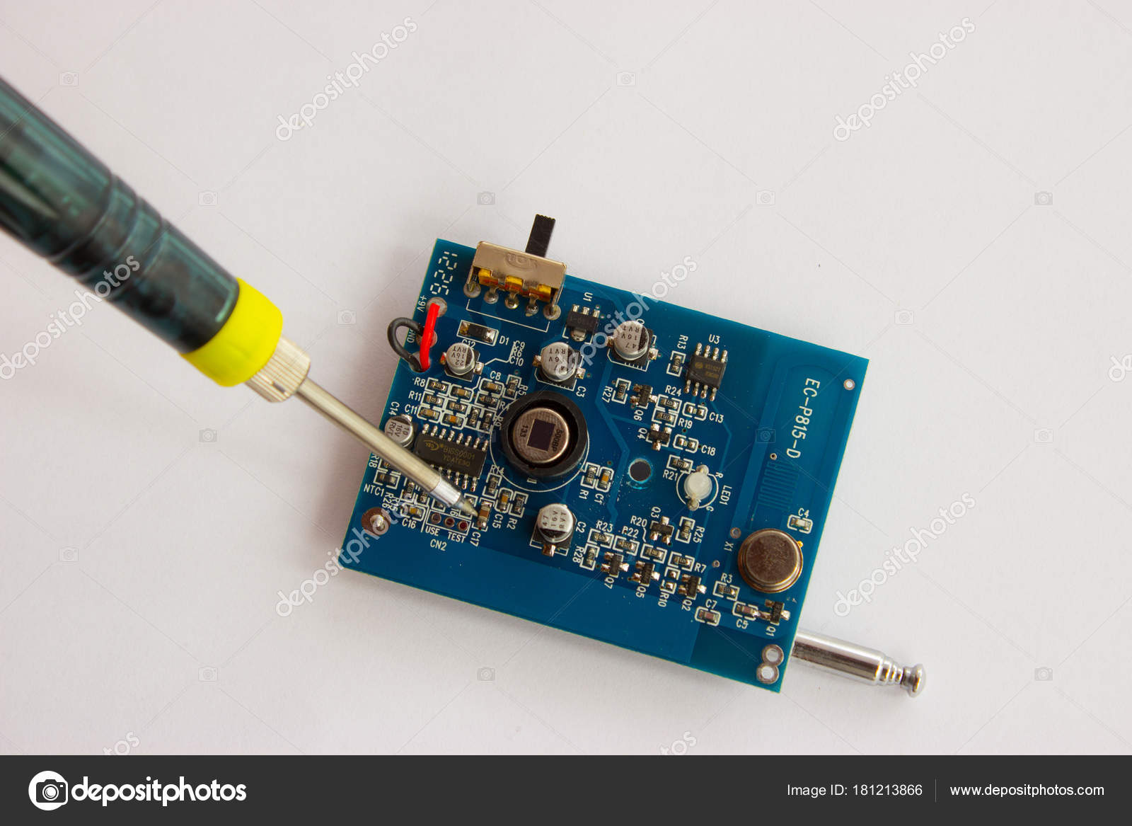 Soldering Of Electronic Components On The Pcb Stock Photo Jk21 Printed Circuit Board With Many Electrical