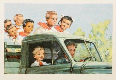 Soviet postcard shows soviet pioneers