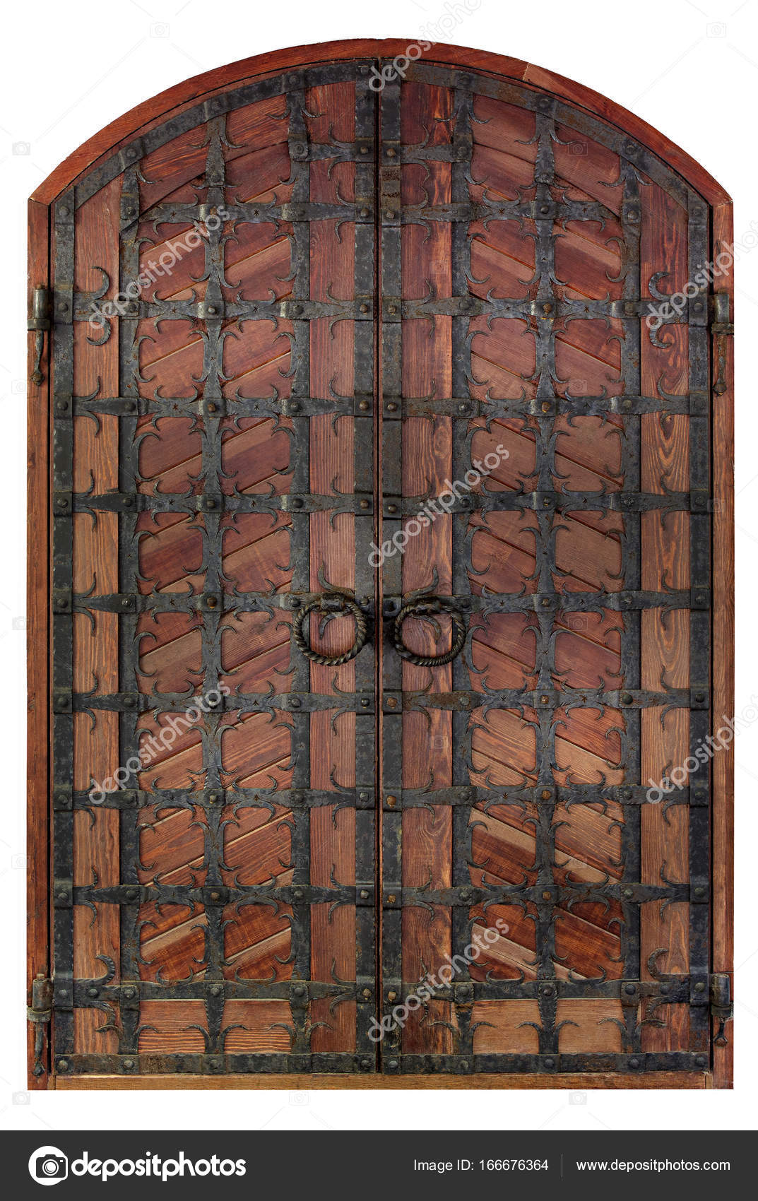 Ancient antique wooden doors are covered with wrought iron lattice ...