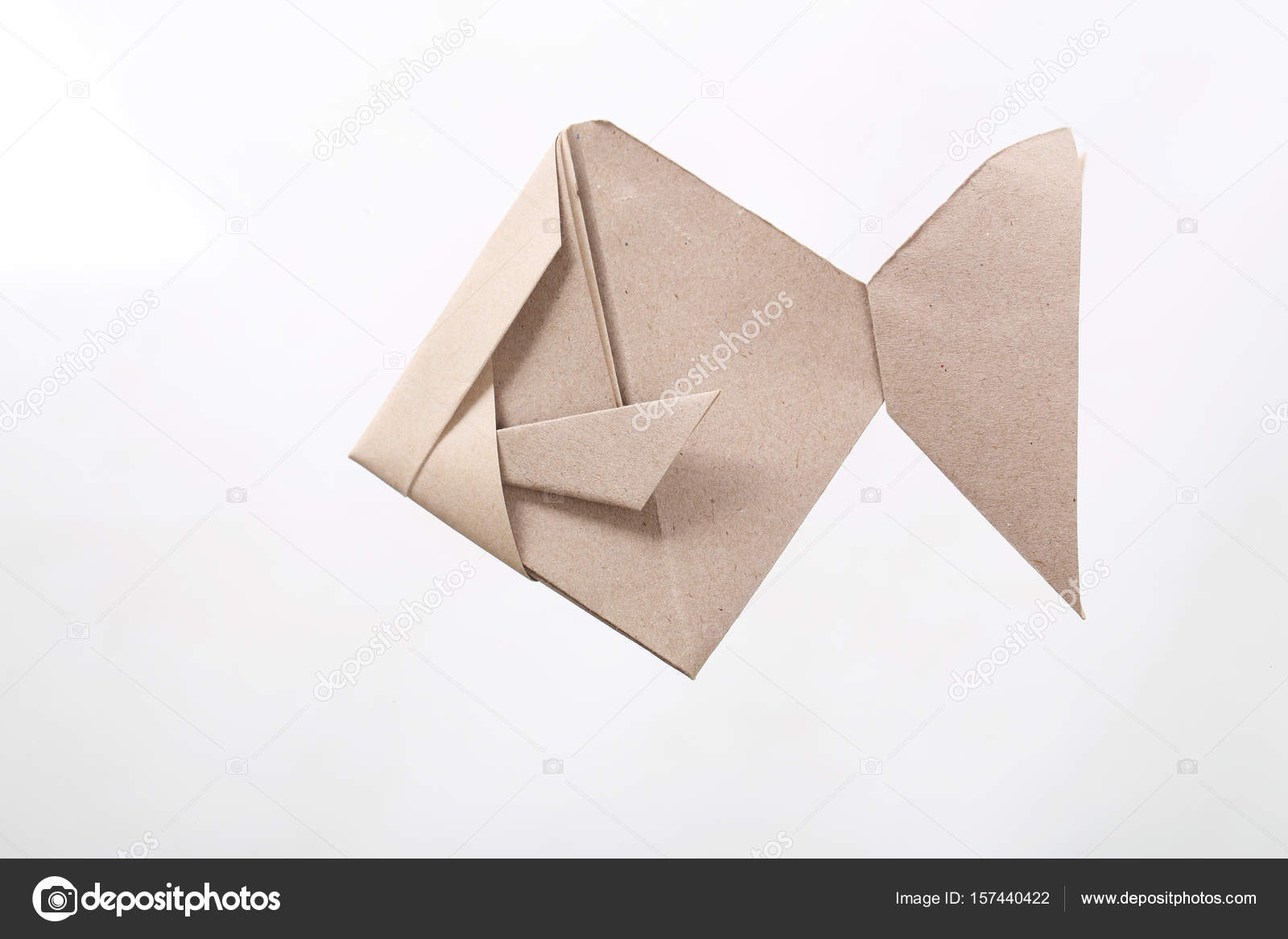 Origami Fish papercraft by recycle paper isolated in white ... - photo#24