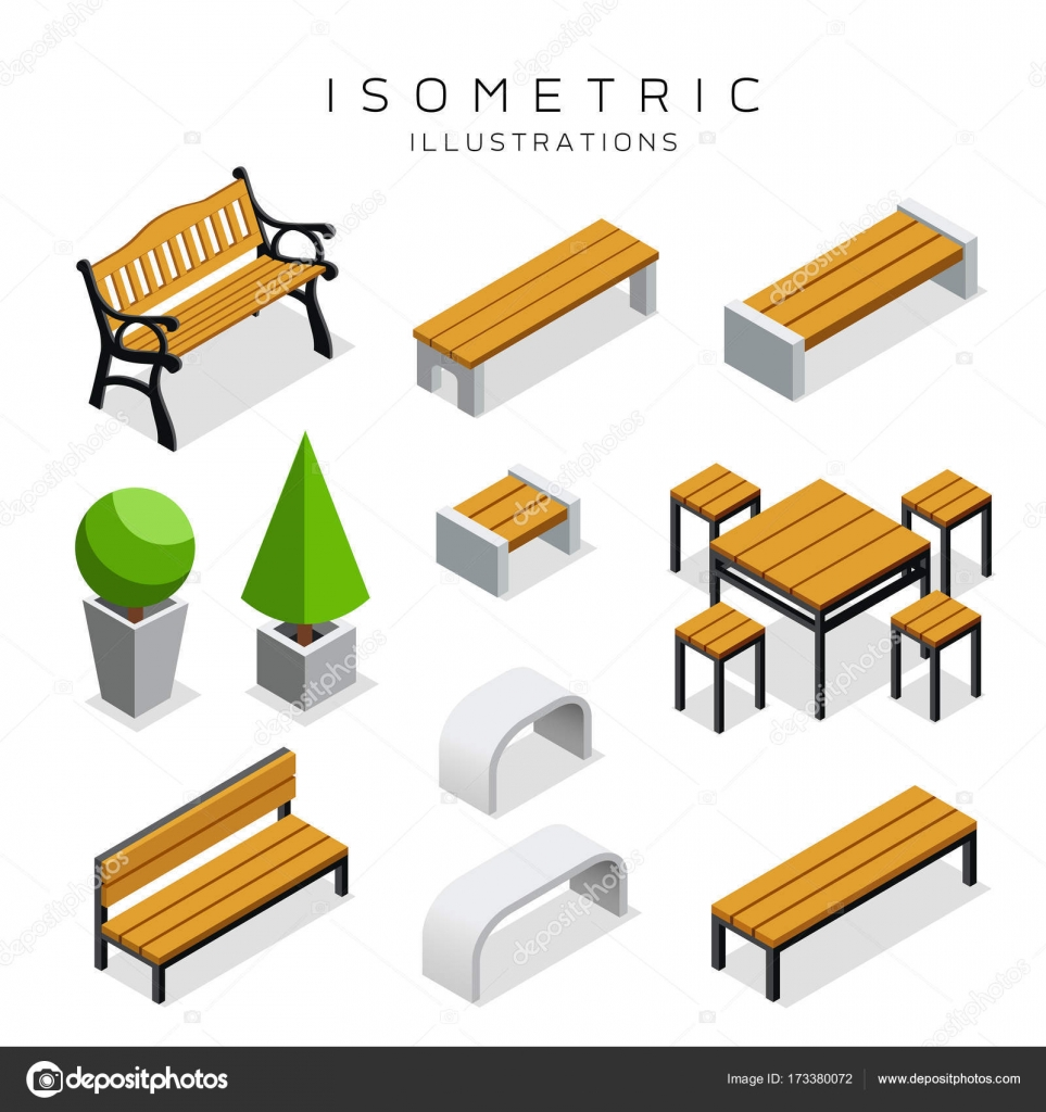 Stupendous Isometric Wooden Bench Collection Stock Vector Machost Co Dining Chair Design Ideas Machostcouk