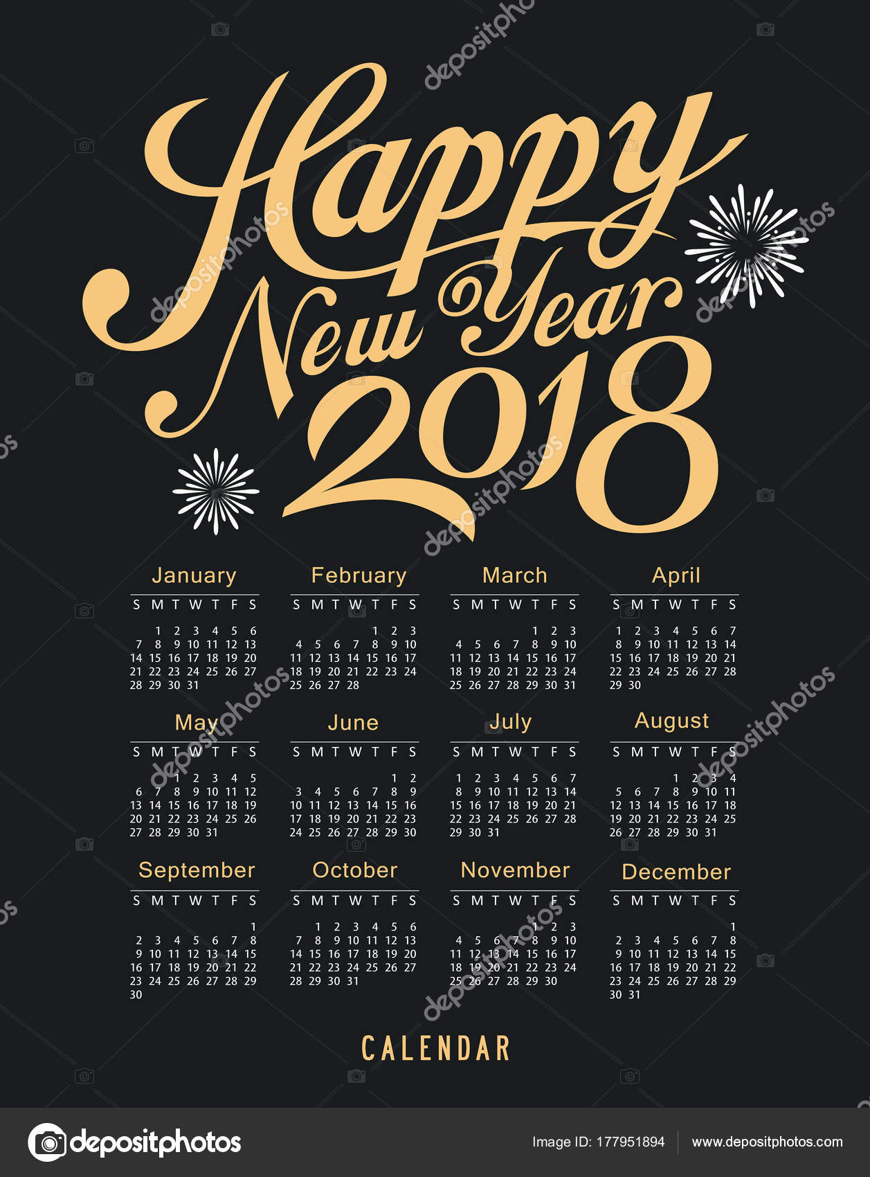 calendar happy new year 2018 message black and gold template design background vector illustration vector by sarunyu_foto