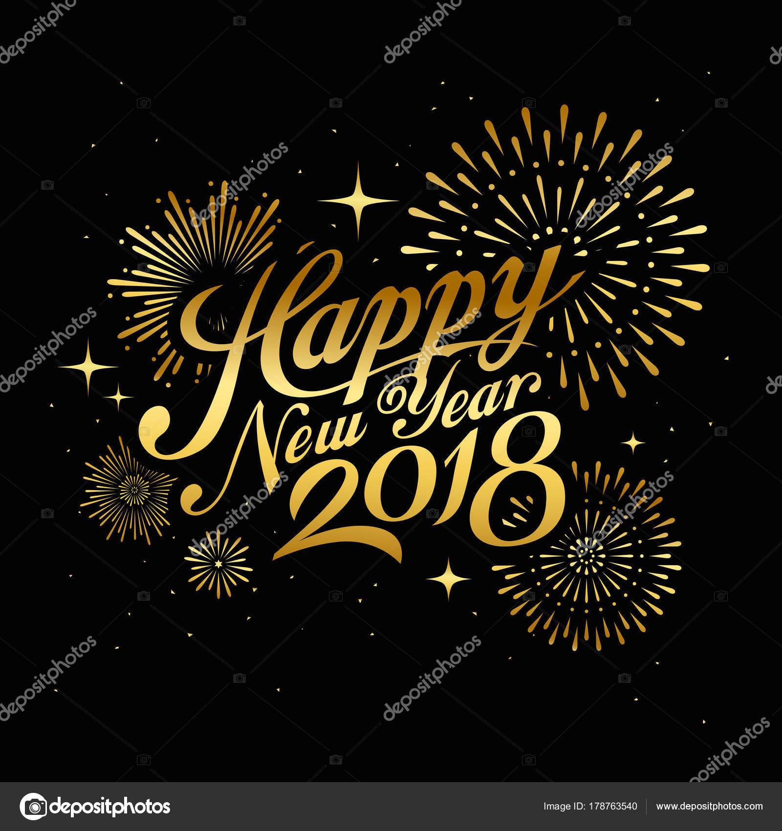 Frohes Neues Jahr 2018 Nachricht Mit Feuerwerk Gold Bei Nacht ...