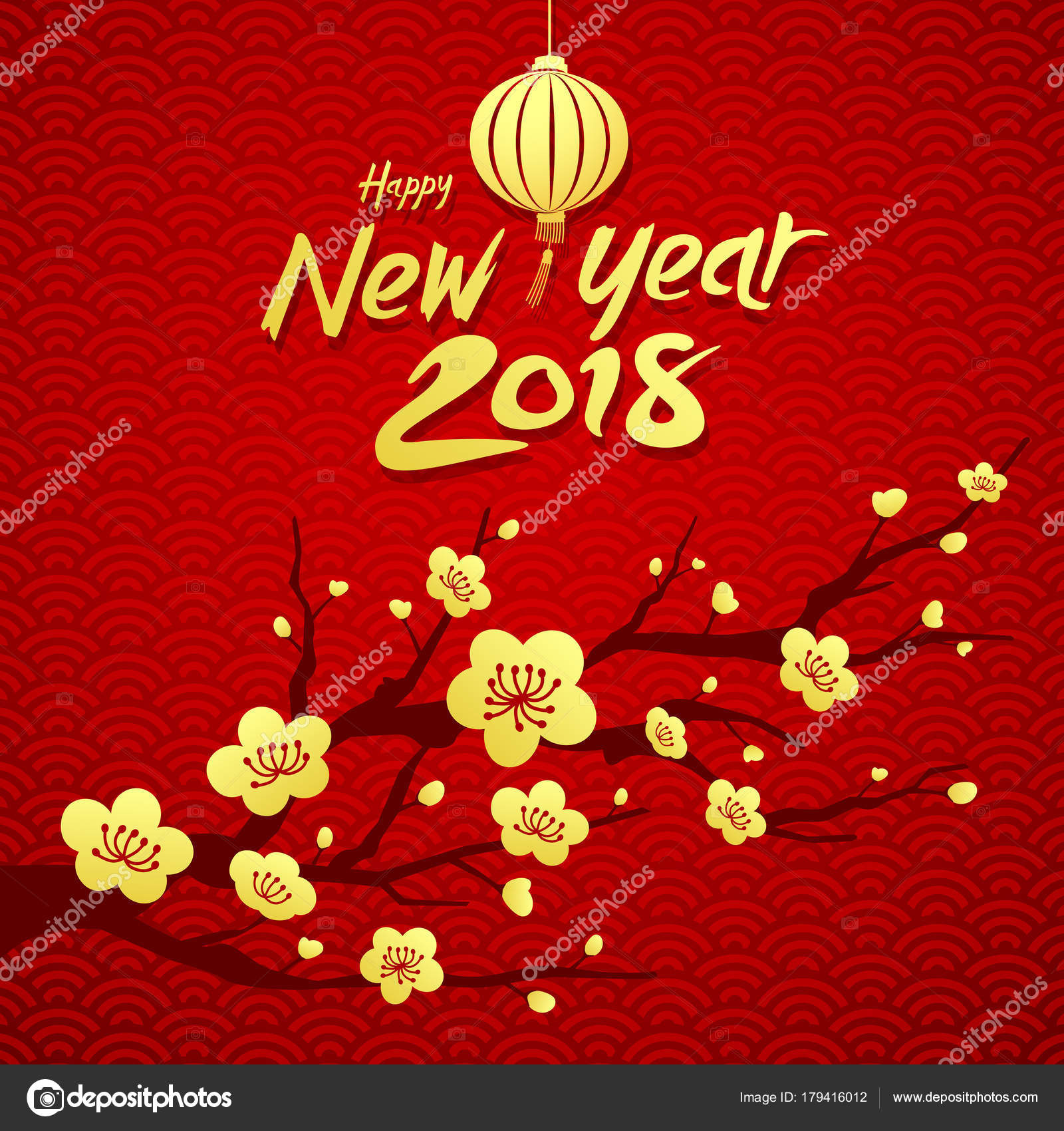happy chinese new year 2018 national flower china red background stock vector