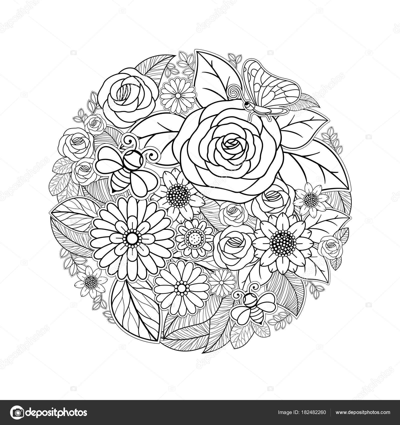 Fleur Tropicale Dessin Noir Blanc Design Isolé Sur Fond