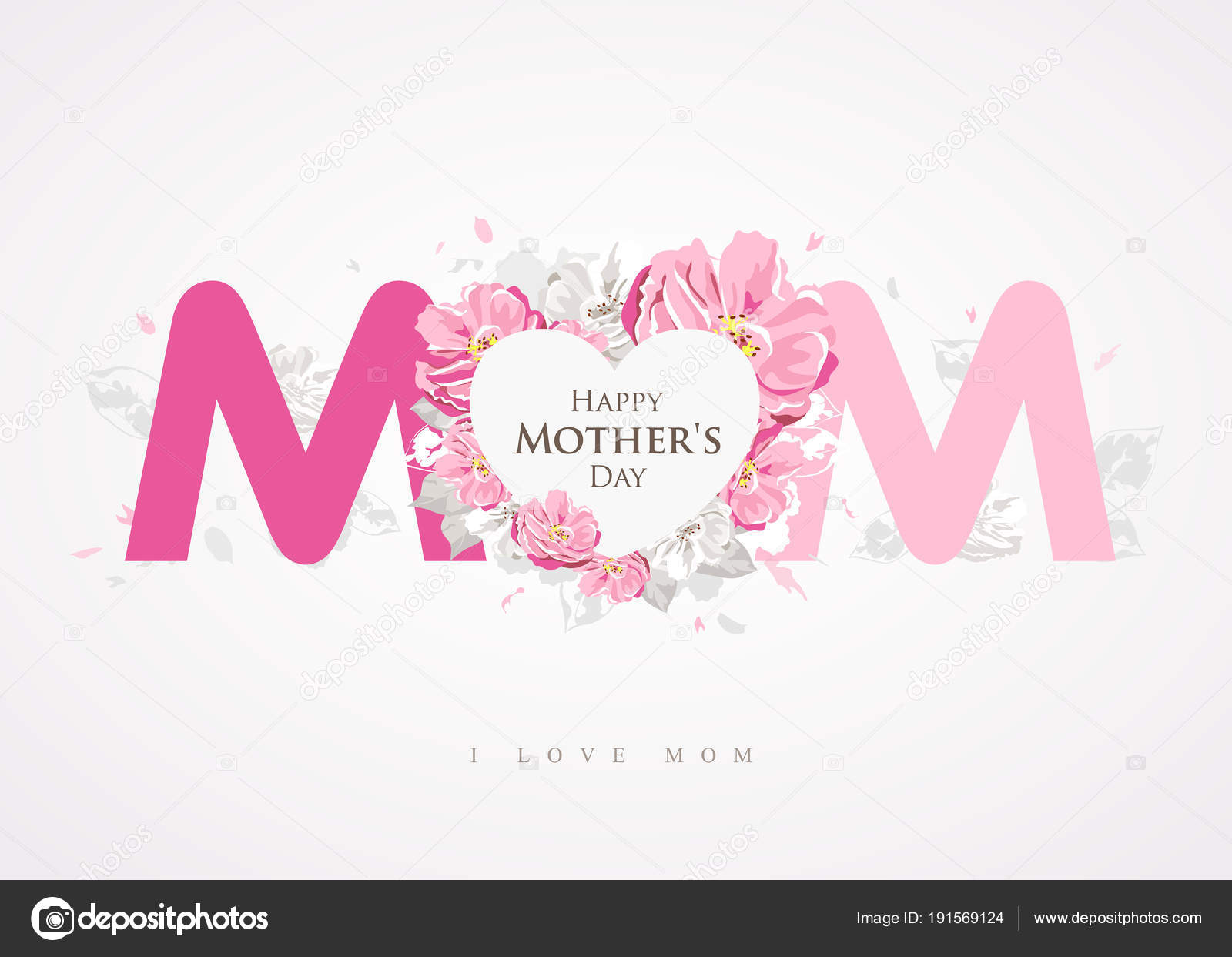 Happy Mother Day Message Mom Background Greetings Card Design Vector