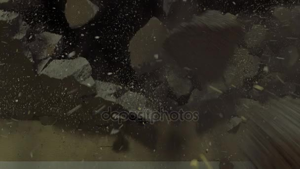 Demolice betonových zdí s prach a kouř
