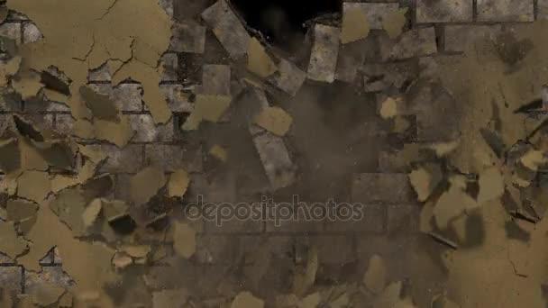 Demolice bloku zdi s prach a nečistoty