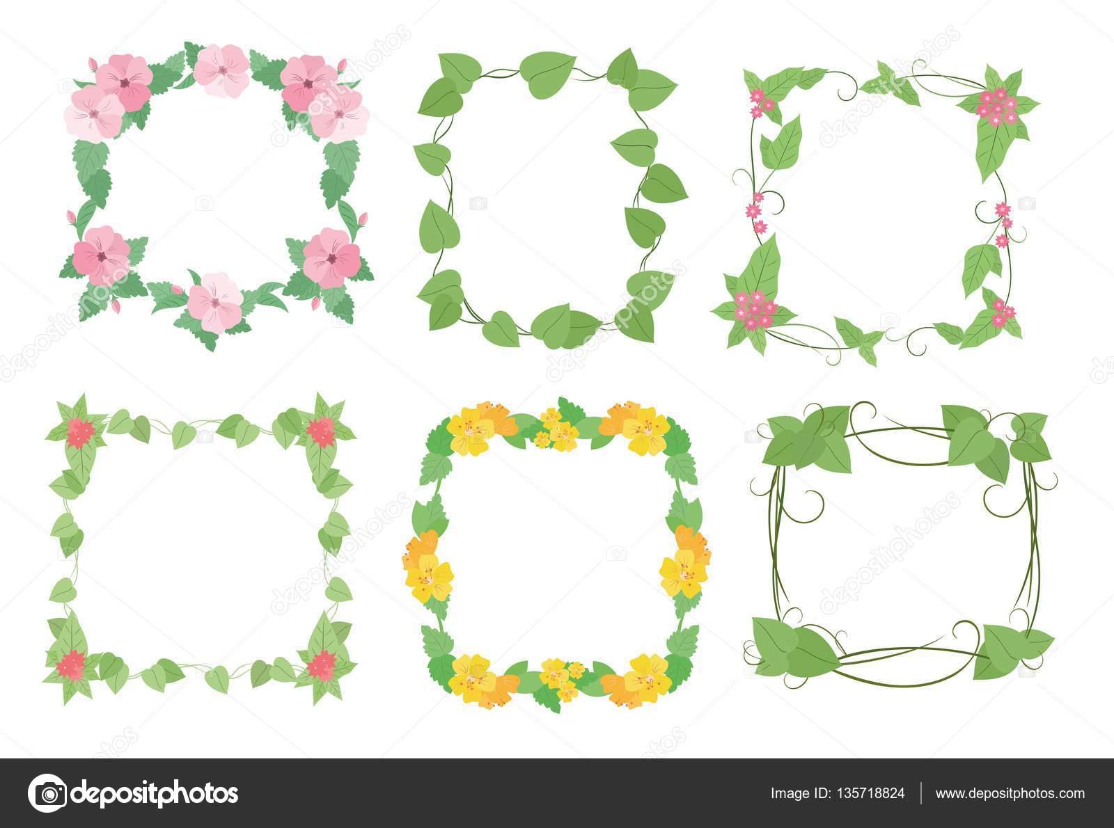 Flores marcos con flores — Archivo Imágenes Vectoriales © Kaimena1 ...