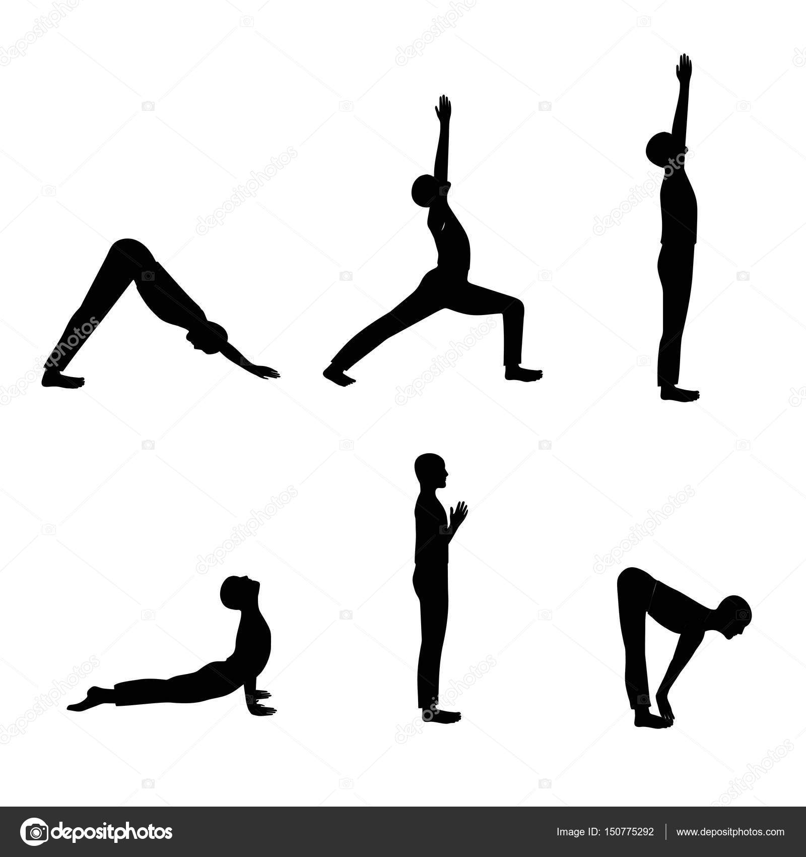 Black Silhouette Men Yoga Poses Vector Set In Postures Isolated On White Background By Kaimena1