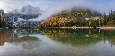 Idyllic Lake Braies in the early autumn