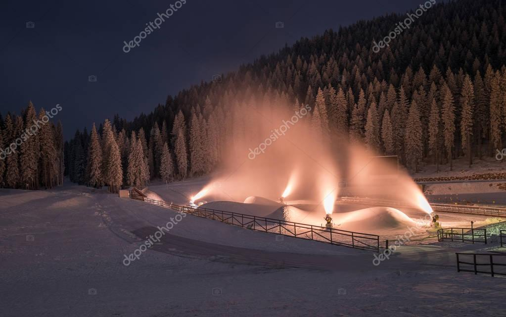 Making of artificial snow on Pokljuka