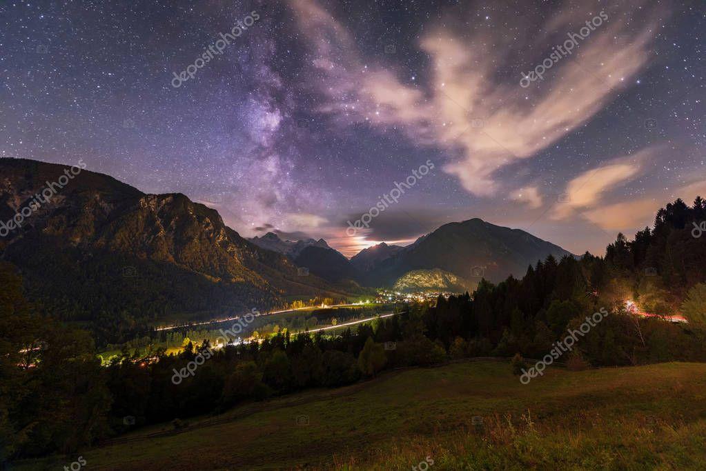 Starry night above the village Mojstrana