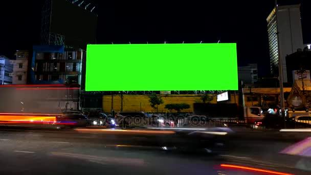 Prázdné reklamní billboard, zelená obrazovka, časová prodleva