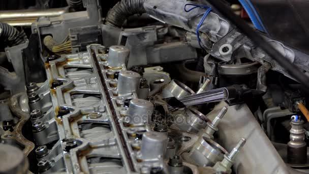 Setup car engine valve.