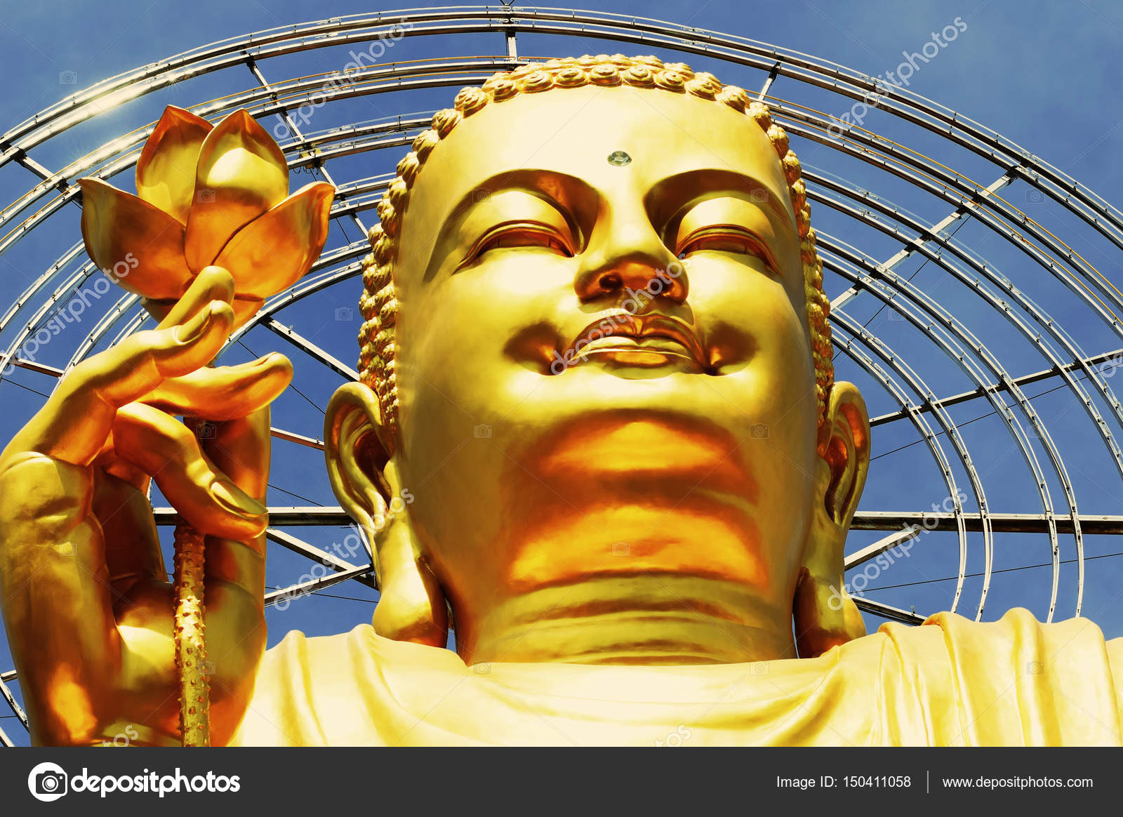 Big golden buddha with lotus flower at da lat vietnam stock photo big golden buddha with lotus flower at da lat vietnam photo by nozyer mightylinksfo
