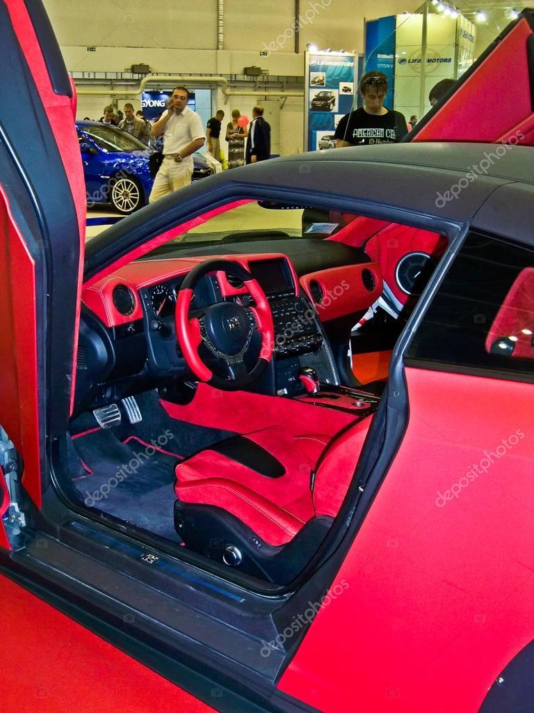 March 7, 2013; Lviv, Ukraine; Salon Nissan GT-R. Speedway. Speed. Car. Karbon. Race. Luxurious. Tuning. Supercar. Editorial photo.