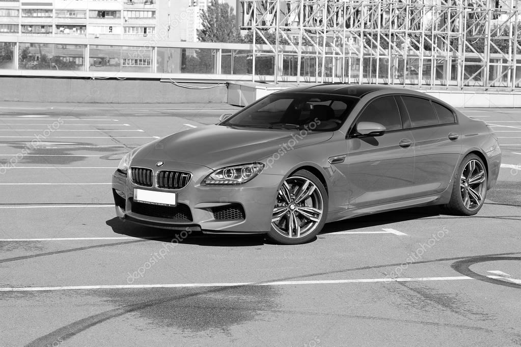 Kiev, Ukraine; November 7; Black and white photo. BMW M6 factory in the background. Editorial photo.