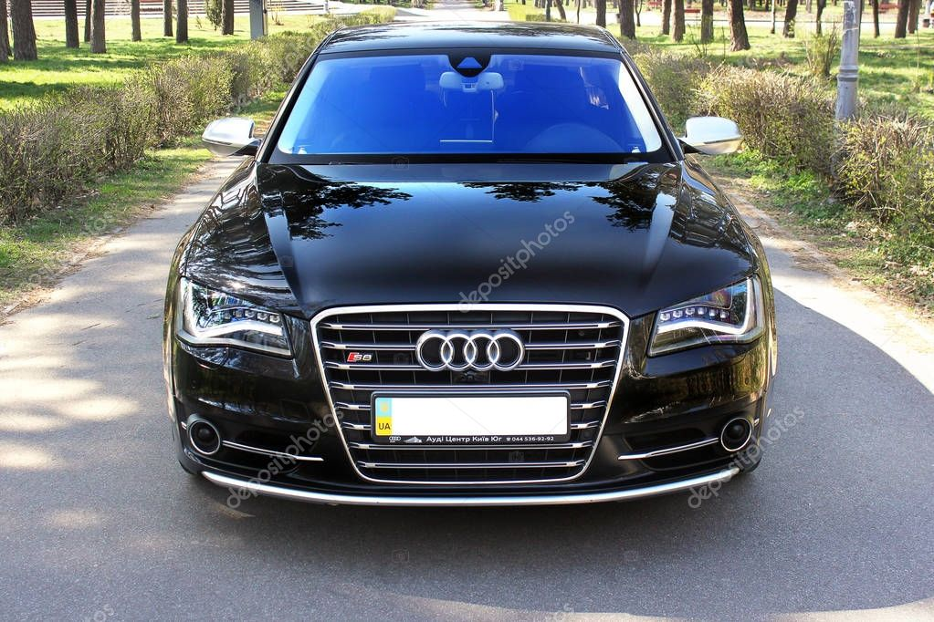 July 7, 2016; Ukraine, Kiev; Audi S8 in the park on the alley. Speedway. Speed. Car. Karbon. Race. Luxurious. Tuning. Supercar. Editorial photo.