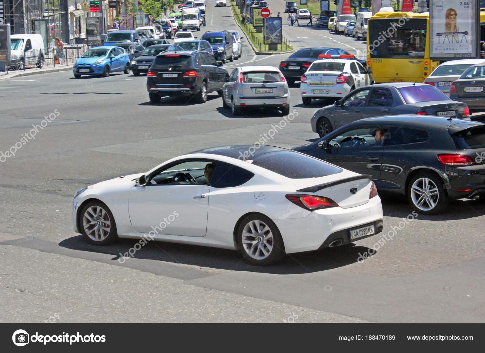 2018 Hyundai Genesis Coupe >> White Hyundai Genesis Coupe Kiev Ukraine June 2017 Editorial
