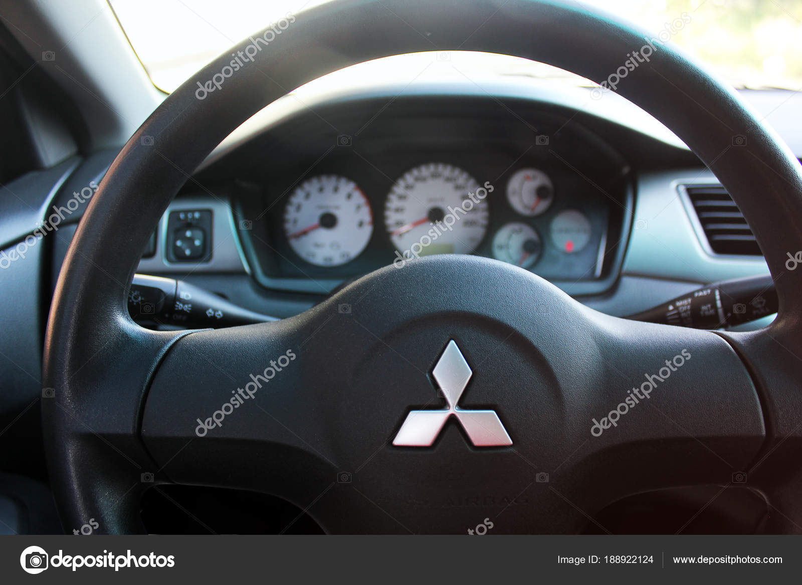 Mitsubishi Lancer View Interior Modern Automobile Showing Dashboard  Vinnytsia Ukraine U2014 Stock Photo