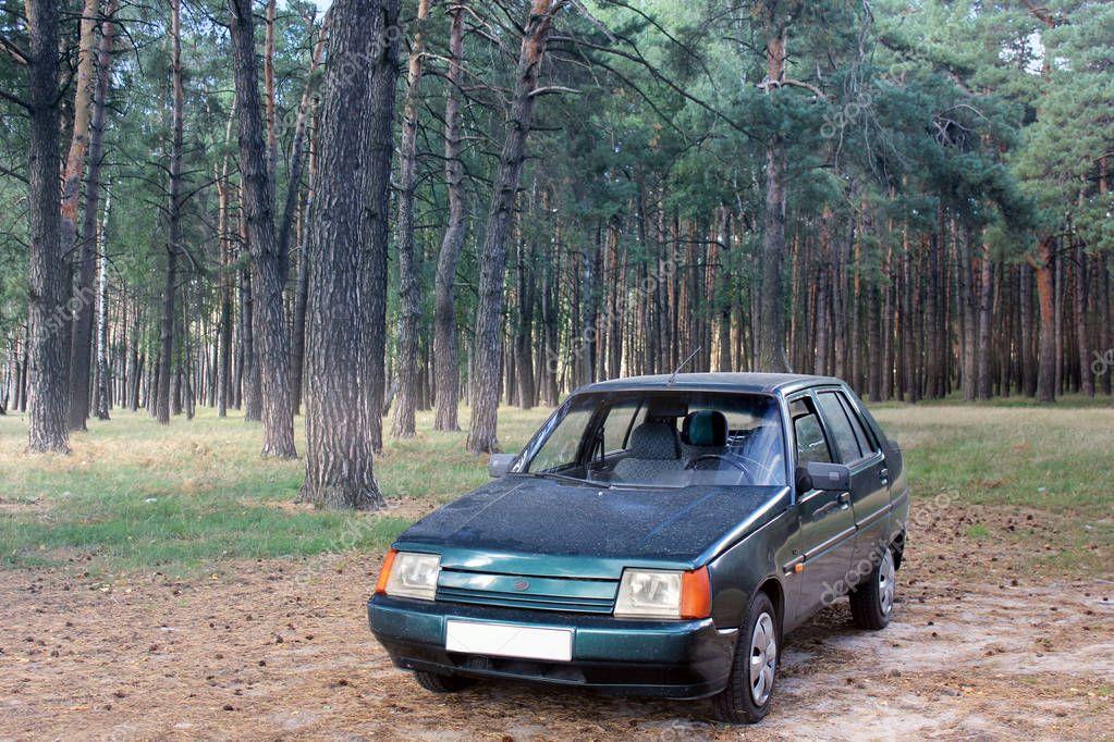 Chernigov, UA - September, 2017: Zaz 1103 Slavuta, The national Ukrainian car in the forest