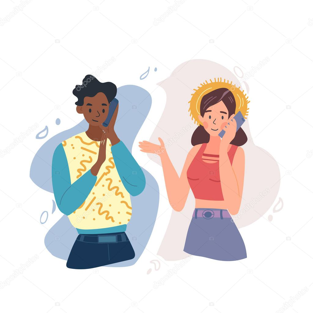 Talking on phone cartoon