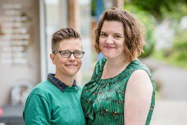 Lesbian couple outdoors