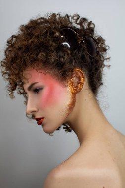Beauty portrait of curly girl