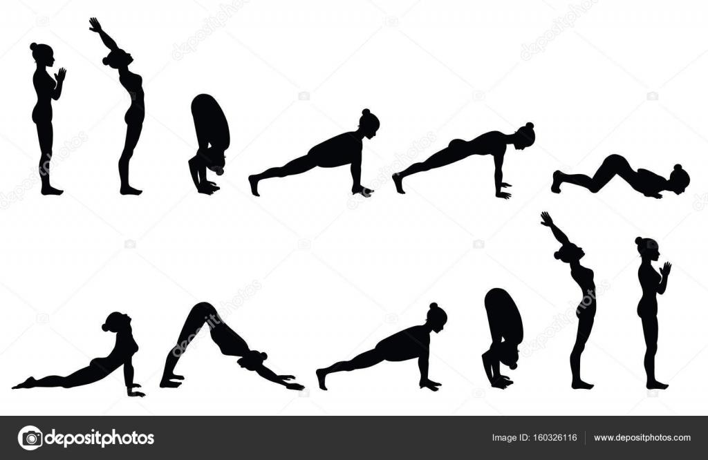 Sun Salutation Surya Namaskara Yoga Sequence Vector Illustration By Comotom0