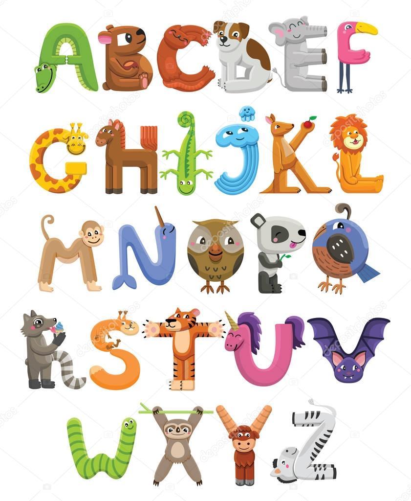 zoo-alphabet. tier-alphabet. buchstaben von a bis z