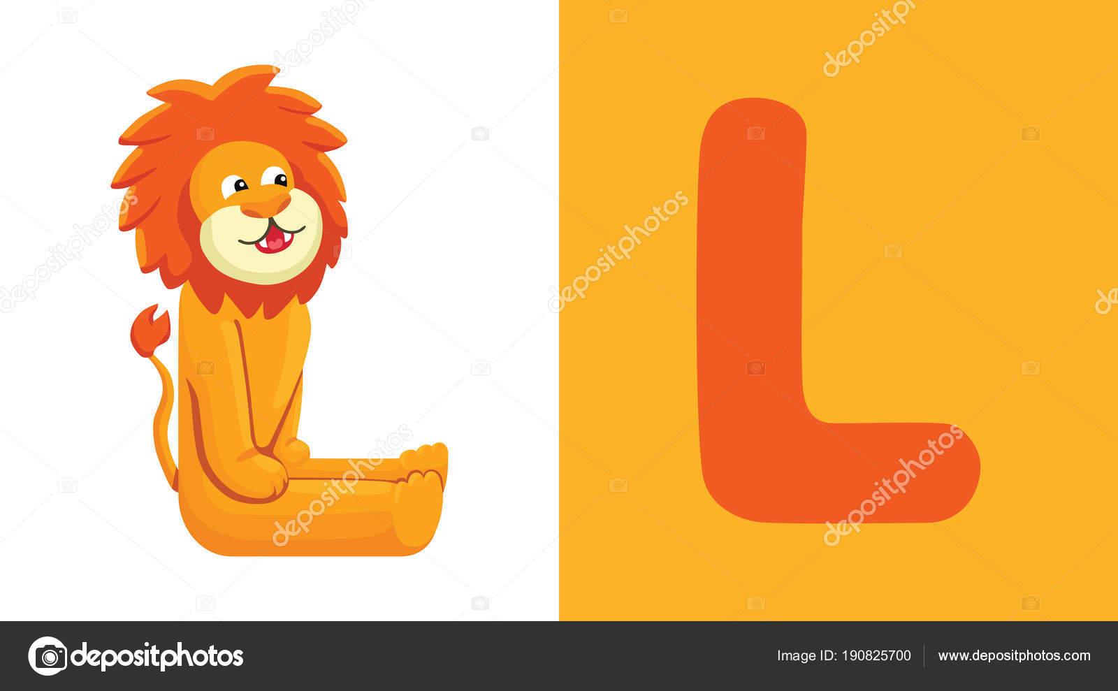 l is for lion letter l lion cute funny illustration animal alphabet vector by comotom0