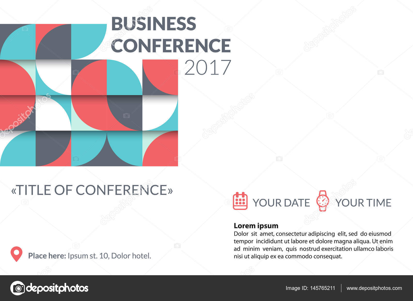 Business conference invitation concept colorful simple geometric business conference invitation concept colorful simple geometric pattern on white background template for banner poster flyer magazine page vector stopboris Images