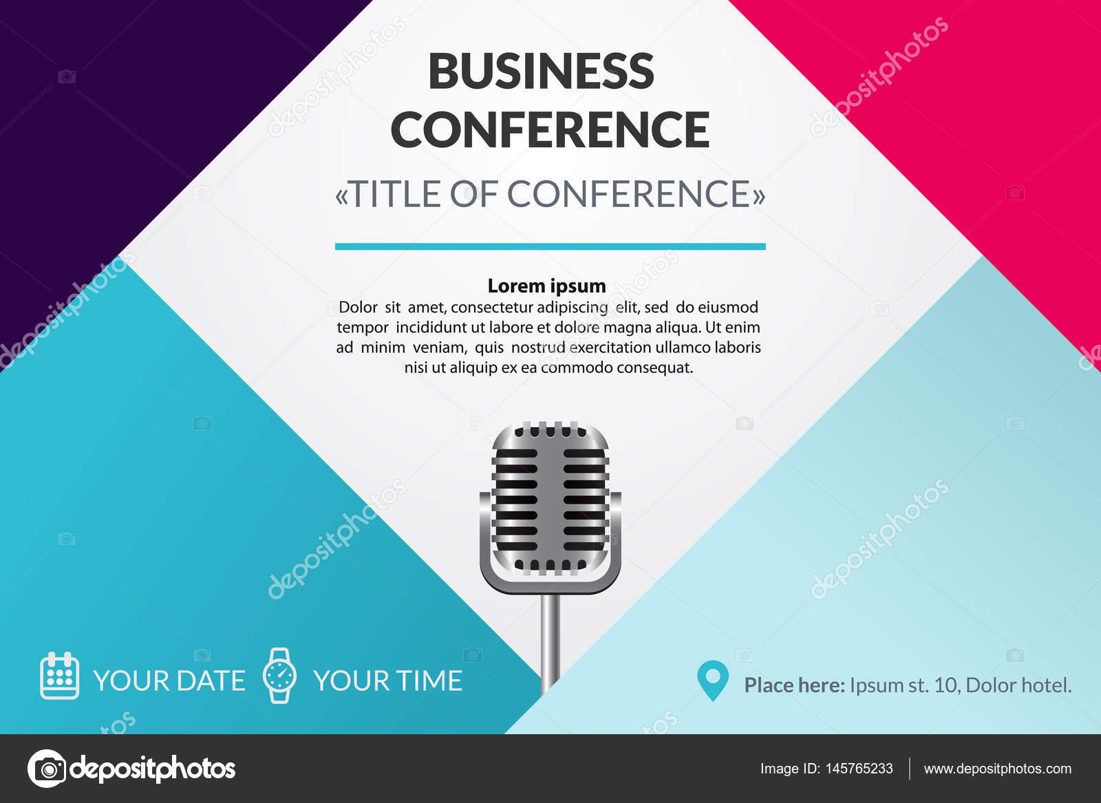 Business conference invitation concept colorful simple geometric business conference invitation concept colorful simple geometric background retro microphone template for banner poster flyer magazine page vector stopboris Image collections