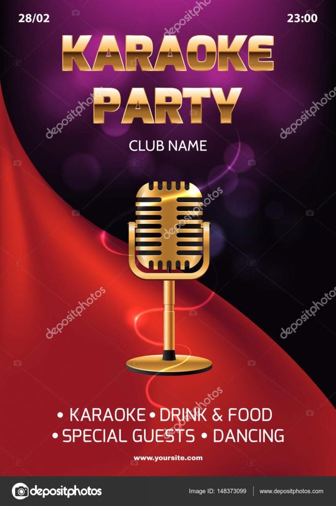 Karaoke party invitation flyer template red curtain on the karaoke party invitation flyer template red curtain on the abstract background light and glare stopboris Choice Image