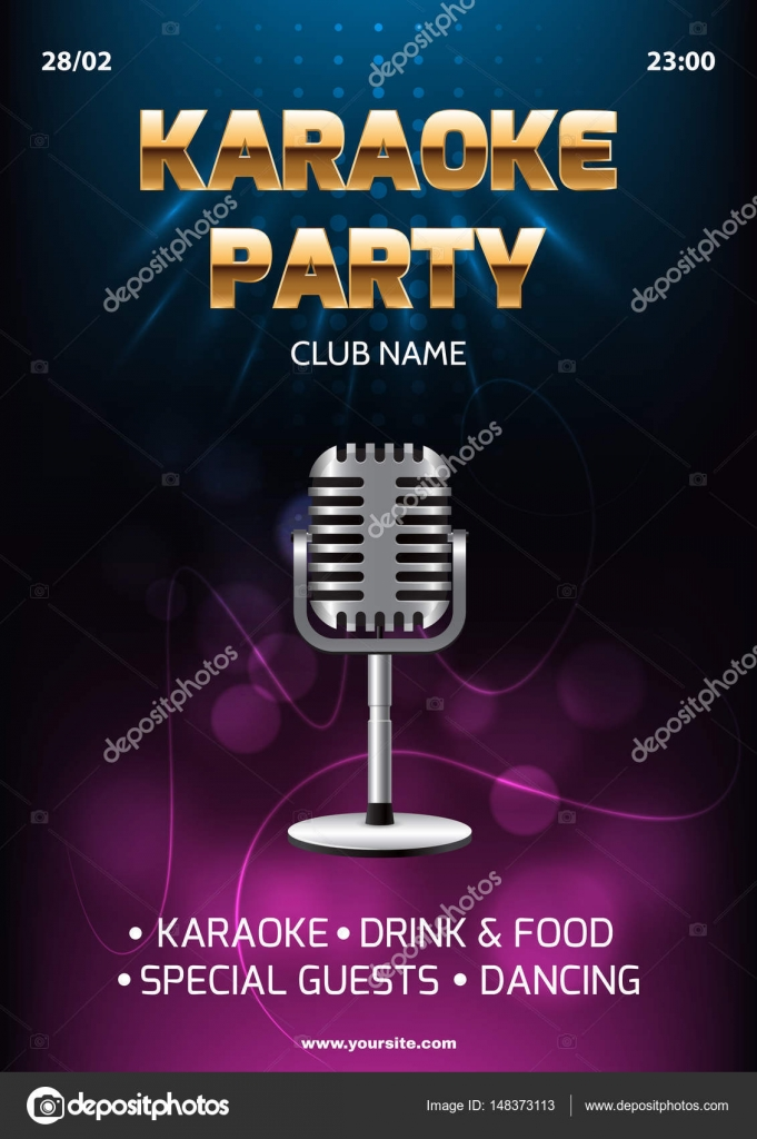 Karaoke party invitation flyer template. Dark background with ...