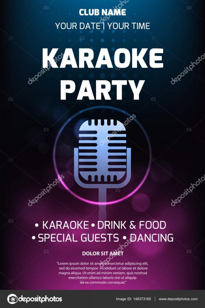 Tarjetas De Invitación Para Karaoke Plantilla De Flyer De